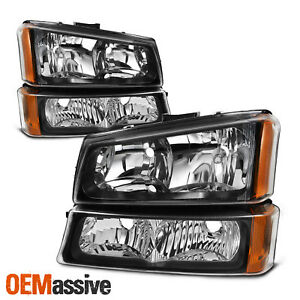Fit 2003 2006 Silverado Avalanche Black Headlights Bumper Signal Lights Lh Rh