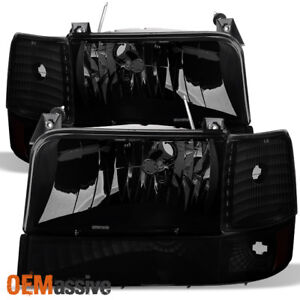 Fit 1992 1996 Ford Bronco F150 F250 F350 Black Smoked Headlights corner bumper
