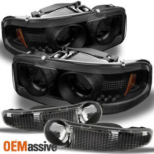For 01 06 Gmc Sierra Yukon Denali Black Smoked Halo Led Headlights bumper Signal