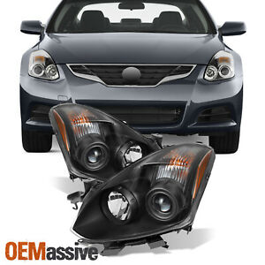jdm Style Fits 2010 2011 12 13 Altima Coupe Black Halogen Projector Headlights