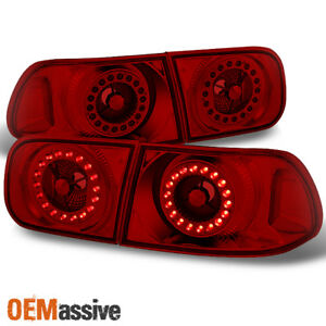 Fits 1992 1995 Honda Civic 2dr 4dr Red Lens Led Ring Style Tail Lights Pair Set