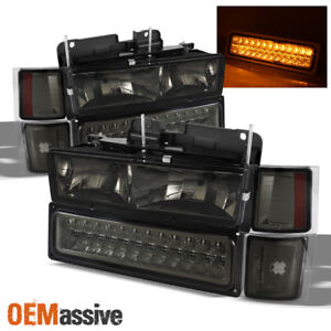 Fits 1994 1998 C10 C K Suburban Silverado Smoked Headlights Led Bumper Lamps