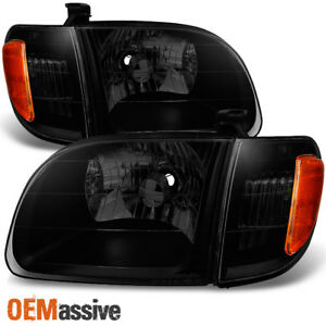 Fits 2000 2004 Toyota Tundra Regular Access Cab black Smoke Headlights Pair