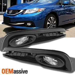 Fits 2013 2015 Civic 4 doors Sedan Bumper Driving Fog Lights W switch bulb Lh rh