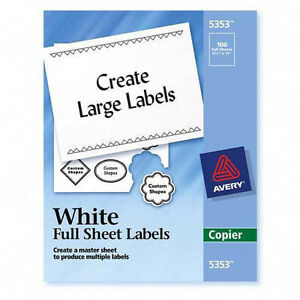 Avery Full sheet Shipping Labels For Copiers 5353 Lot Of 2 Box 200 Sheet