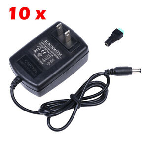 10x Plug Adapter Ac100 240v To Dc 12v 2a Power Supply For 3528 5050 Strip Led Us