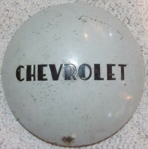 Vintage Chevrolet Painted 10 Inch Od 7 1 2 Id Dog Dish Moon Style Hubcap