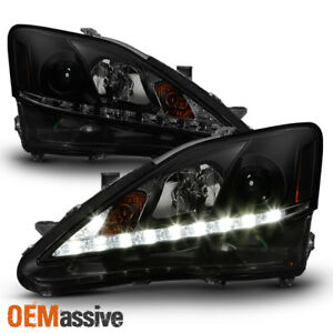 Fits 2006 2013 Lexus Is250 Is350 Black Smoked Led Drl Projector Headlights Lamp