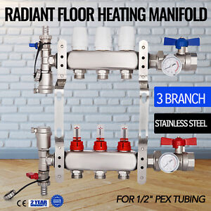 3 branch Pex Radiant Floor Heating Manifold 1 2 Pex Resistant Stainless Steel