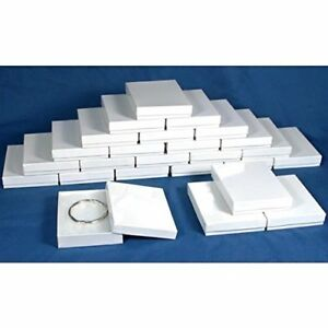 25 Cotton White Necklace Pendant Jewelry Gift Boxes 5 3 8 quot