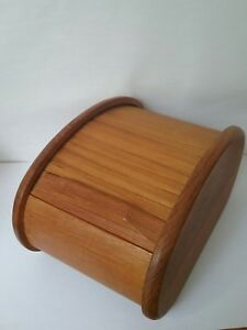 Teak Wood Card File Box Desk Tambour Kalmar Designs Mid Century Modern