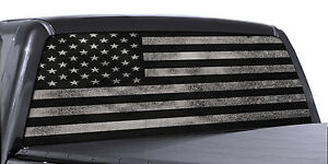 Truck Rear Window Decal Black White Distressed American Flag Vinyl Wrap