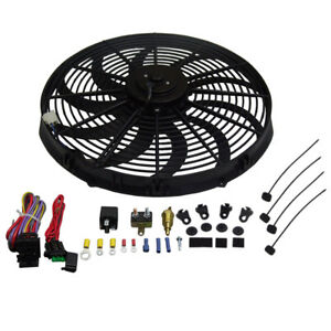 Heavy Duty 16 Electric Radiator S Blade Cooling Fan 3000cfm Relay Thermost Kit