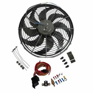 16 Inch Electric Radiator Wide Curved Blade Fan High 3000cfm Thermostat Kit