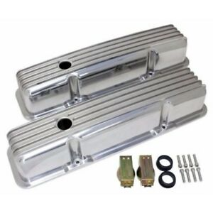 Retro Finned Polished Aluminum Tall Valve Covers For 58 86 Sbc Chevy 327 350 400