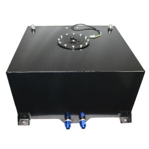 10 Gallon 38l Polished Aluminum Race Drift Fuel Cell Gas Tank Level Sender Black