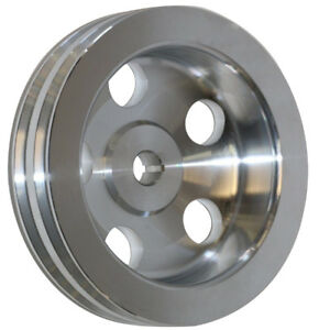 For Sbc Bbc 350 454 Polished Aluminum 2 Double Groove Power Steering Pump Pulley