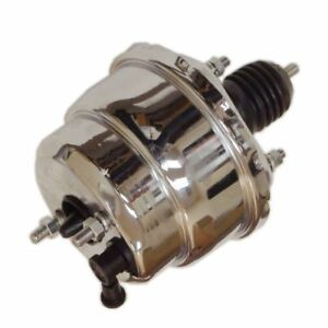 7 Dual Diaphragm Chrome Power Brake Booster Universal Street Rod For Chevy Ford