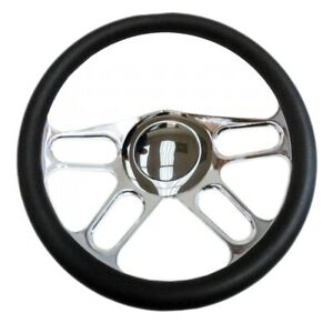 Chrome 14 Billet New Age Half Wrap Steering Wheel Smooth Horn Button 9 Hole