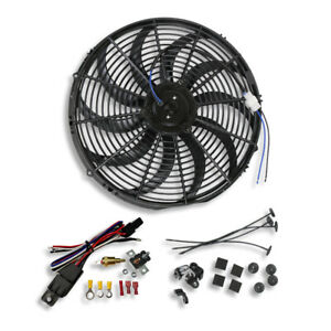 16 Inch Electric Radiator S Blade Cooling Fan 12v 3000cfm Relay Thermostat Kit