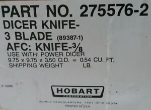 Hobart Power Dicer Attachment 3 Blade Afc Knife W shafts And Connector 12 22