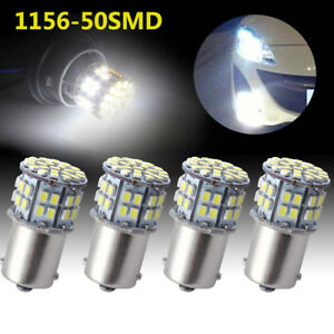 4x Cool White 1156 Ba15s 50 Smd Car Rv Tail Backup Led Light Bulb 1141 1073 1003