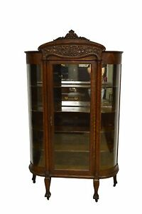 Antique Quartersawn Oak Bowed Curved China Display Cabinet Curio Closet