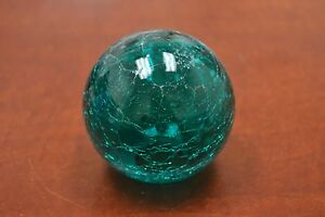 Reproduction Cracking Turquoise Glass Float Fishing Ball With Hole 3 F 458ch