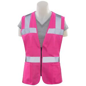 Erb Women s Reflective Safety Vest With Pockets Pink