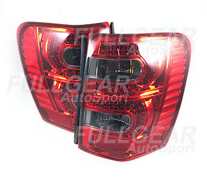 Chrome W Red Smoke Lens Led Tail Light Set For Jeep Grand Cherokee 1999 2004