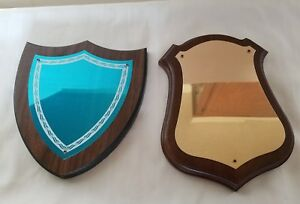 Lot Of 2 Trophy Solid Walnut 6 X 7 1 2 Shield Plaque Boards W Plates