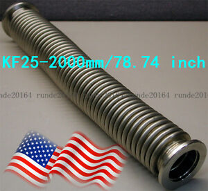 1pc Bellows Hose Metal Kf 25 2000mm 78 74 Inch Tubing Iso kf Flange Size Nw 25