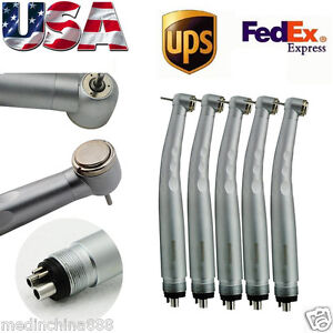 5pc Dental High Speed Handpiece Standard Push Button 3 Spray 4 Hole Small Head