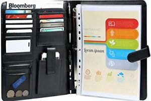 Rfid Blocking Leather Planner Binder Sleeves Business Portfolio With Removable