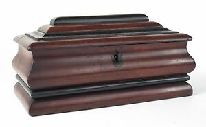 Georgian Mahogany And Ebony Sarcophagus Shaped Jewellery Casket C1820