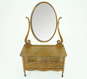 Antique Dresser Vintage Vanity Beveled Mirror Oak B793