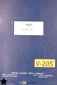 Verson 7s Obi Press Operations Maintenance And Parts Manual