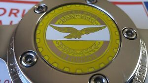 Zenith Of Califonia Wire Wheel 2 25 Metal Chip Emblems Yellow Chrome Blemishes