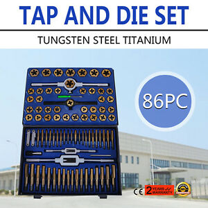 86 Piece Tungsten Steel Titanium Sae Metric Tap And Die Set Combo W case Sell