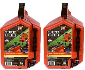 2 Ea Surecan Sur50g1 5 Gallon Gas Gasoline Can W Rotating Flex Spout