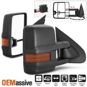 Fit 14 18 Chevy Silverado Gmc Sierra Power Heated Led Signal Side Towing Mirrors