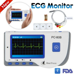 Heal Force Ecg Ekg Heart Monitor Portable Handheld W Lead Cable 50 Electrodes