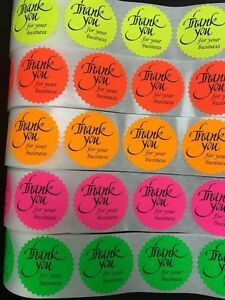 1000 Thank You For Your Business Neon Labels Stickers Starburst Fluorescent 2