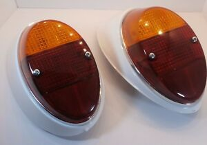 1962 1967 Vw Bug Tail Light Assemblies With Seal Yellow Red Lens Pair
