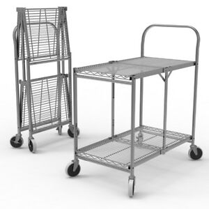Luxor Wscc 2 2 shelf Industrial Collapsible Chrome Wire Utility Cart