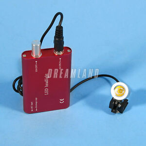 Dental Led Head Light Lamp For Surgical Binocular Loupes Red Battery Usa