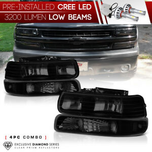 Built In Led Low Beam 2000 2006 Chevy Tahoe Suburban 1500 2500 Smoke Headlight