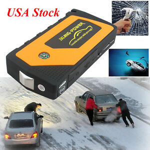Battery Jump Starter 600a Peak Portable Car Suv Charger Booster W Jumper Cables