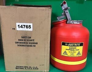 Justrite Non metallic Body Safety Disposal Can P n 14765 5 Gallon Capacity