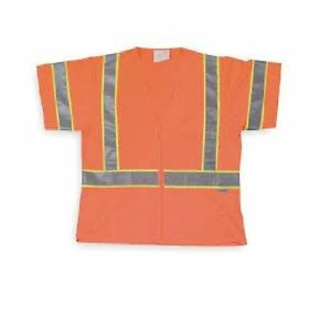 Condor Orange High Visibility Vest Size M 3 Ansi Class Zipper Qty 4